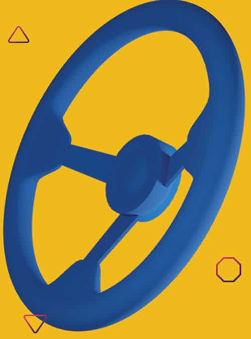 blue steering wheel, under control, safe driving